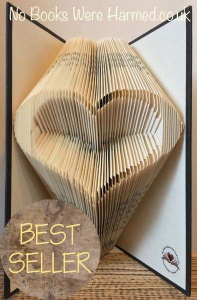 READY TO POST : Hollow Heart : : Hand folded, non cut book art