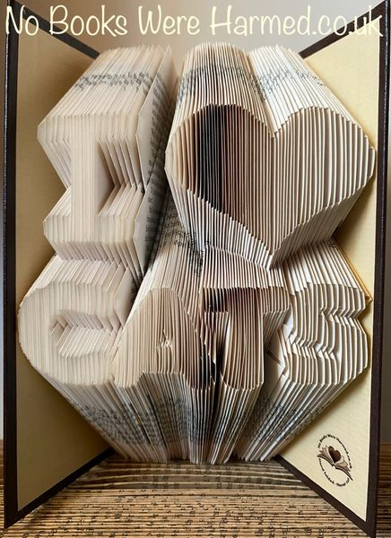 """I ♥ CATS"" Hand folded, non cut book art sculpture"
