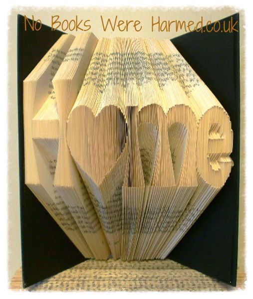 """""""H♥me"""" Home with love heart 'o' : : New home, moving present, book art : : Home is where the heart is book art ♥"""