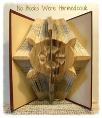 READY TO POST Ship's wheel : : Cap'n's wheel : : Helm : : Hand folded book art : : Nautical seaside boat gift or decoration
