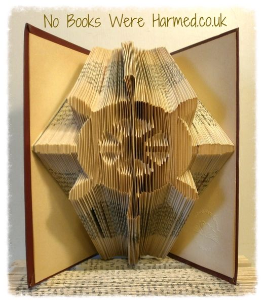 Ship's wheel : : Cap'n's wheel : : Helm : : Hand folded book art : : Nautical seaside boat gift or decoration
