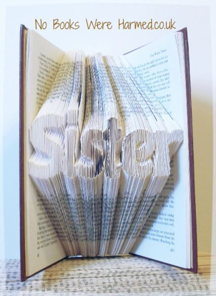 "READY TO POST ""Sister"" : : Medium sized, clear lettering : : Non-cut book art"