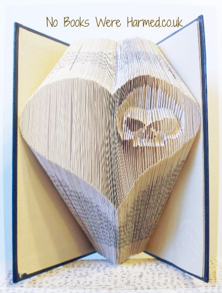 """Bad Heart II"" : : Skull peeking out of a heart ♥ : :alternative, dark, macabre, gothic, Halloween book art"