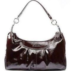 Coach 20452 Ashley Mahogany Brown Patent Leather Convertible Hobo HandBag