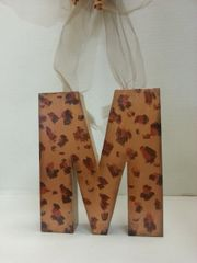"Wall Hanging Wood Letter ""M"" Cheetah"