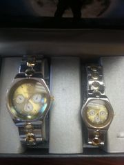 "His & Hers Watch Set ""Silver with Gold Accents"""