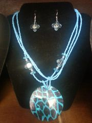 Jewelry Set Caribbean Shell Collection Light Blue Giraffe