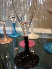 Wine and Champagne Glasses with Glittered Stems