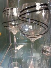 Wine Glasses Spiral Black