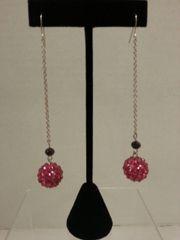Jewelry Earrings Mini Chain Pink Crystal Ball