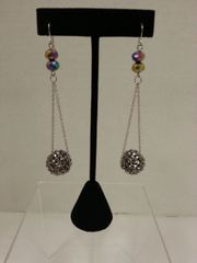 Jewelry Earrings Mini Chain Silver Crystal Ball