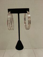 Jewelry Earrings Silver Hoop Triple