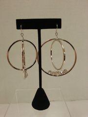 Jewelry Earrings Hoop Silver with Clear Gems