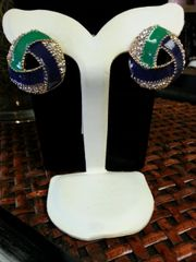 Jewelry Earrings Blue and Green with Gold