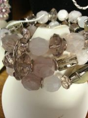 Jewelry Bracelet Smokey Pink and Frosted Gem