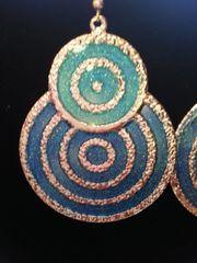 Jewelry Earrings Aqua and Blue Disk