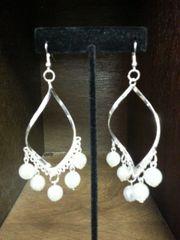Wedding Earrings Twist Silver with Pearls
