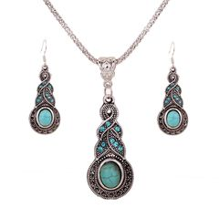 Jewelry Necklace Turquoise Teardrop Set