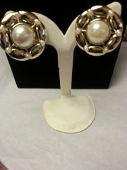 Wedding Earrings Gold and Pearl Clip