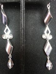 Wedding Earring Silver Twist with Gems