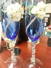 Wedding Toasting Glasses Blue with Roses