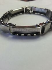 Half Tribal Logo and Half Segmented Blocks 316L Stainless Steel Bracelet