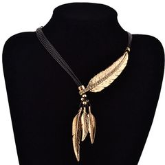 Jewelry Bohemian Style Black Rope Feather Leaf Pattern Pendant Choker Necklace