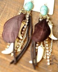 Jewelry European Turquoise Feather Tassel Earrings