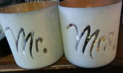 Wedding Mr and Mrs Pillar Candle Holder