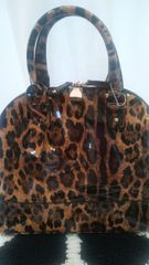 Handbag Leopard Patent Leather Satchel