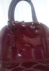 Handbag Patent Leather Wine Satchel