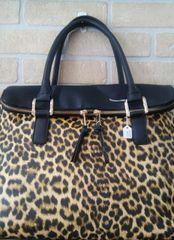 Handbag Leopard Two Tone Satchel