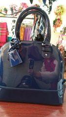 Handbag Navy Patent Leather Satchel