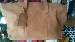 Handbag Weekend Tote Tan Faux Suede