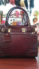 Handbag Burgundy Croc Satchel