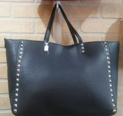 Handbag Black Tote with Studs & Strap
