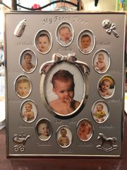 Silver My First Year Baby 13 Photo Picture Frame