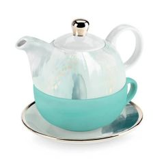 Pinky Up Addison Mint Abstract Tea for One Set
