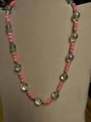 Jewelry Necklace Pink & Clear Crystal