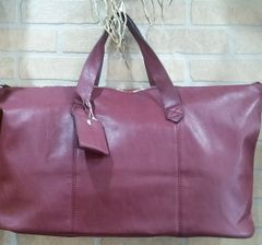 Handbag Weekend Tote Burgundy with Strap