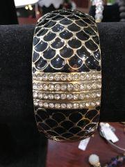 Jewelry Black and Gold Cuff Bracelet