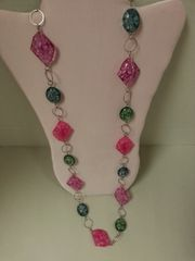 "Jewelry Necklace 32"" Pink Green Blue"