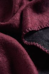 Open Front Oversized Sweater Blanket Cape Burgundy and Black Reversible