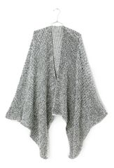 Open Front Oversized Blanket Cape Cable Knit Black and White