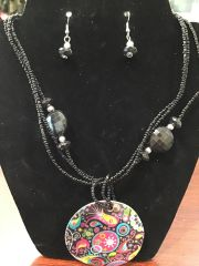Jewelry Set Caribbean Shell Collection Black Paisley