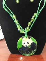 Jewelry Set Caribbean Shell Collection Green Panda