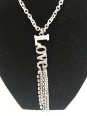 "Jewelry Necklace Silver ""LOVE"" with Swarovski Crystal"