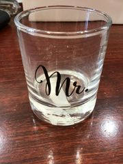 Wedding Shot Glass Mr. or Mrs.
