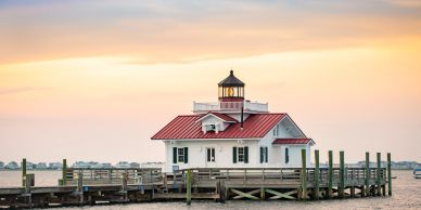 Roanoke Marshes Lighthouse in Manteo on Roanoke Island in the Outer Banks