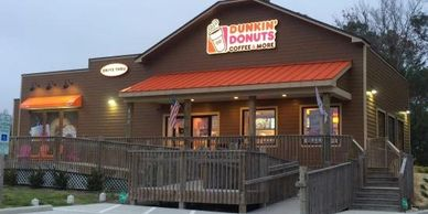 Dunkin Donuts restaurant in Manteo on Roanoke Island in the Outer Banks